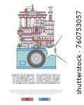 travel berlin poster with... | Shutterstock .eps vector #760753057