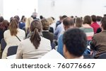 speakers giving a talk at... | Shutterstock . vector #760776667
