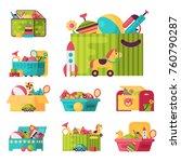 full kid toys in boxes for kids ... | Shutterstock .eps vector #760790287