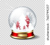 realistic christmas glass snow... | Shutterstock .eps vector #760799257
