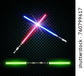 neon light swords. flash and... | Shutterstock .eps vector #760799617