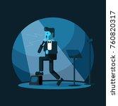 man singing jazz music on stage ... | Shutterstock .eps vector #760820317