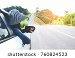 asian woman traveler with car... | Shutterstock . vector #760824523