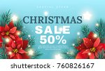 christmas sale banner with fir... | Shutterstock .eps vector #760826167