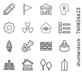 thin line icon set   pencil ... | Shutterstock .eps vector #760826623