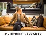pretty  young woman choosing... | Shutterstock . vector #760832653