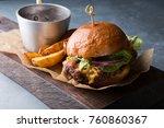 hamburger with potatoes served... | Shutterstock . vector #760860367