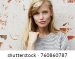blond and blue eyed young woman ... | Shutterstock . vector #760860787