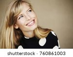 stunning young blond woman... | Shutterstock . vector #760861003
