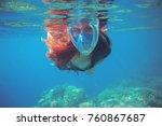 woman swimming in blue sea.... | Shutterstock . vector #760867687