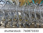 trolleys at airport railway bus ... | Shutterstock . vector #760873333