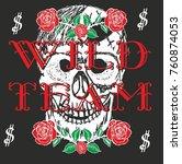 rose and skull graphic design... | Shutterstock .eps vector #760874053
