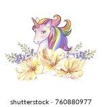 watercolor hand drawn vibrant... | Shutterstock . vector #760880977
