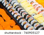 many sushi japanese food in... | Shutterstock . vector #760905127