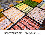 many sushi japanese food in... | Shutterstock . vector #760905133