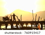 silhouette of a man standing on ... | Shutterstock . vector #760915417