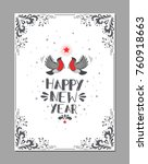 happy new year retro typography ... | Shutterstock .eps vector #760918663
