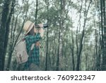 woman with binoculars and... | Shutterstock . vector #760922347