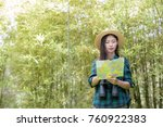 happy female tourist to travel... | Shutterstock . vector #760922383