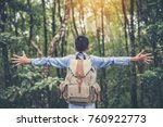 happy boys tourist to travel in ... | Shutterstock . vector #760922773