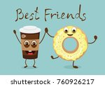 cartoon funny donut and a cup... | Shutterstock .eps vector #760926217