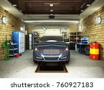 front view of a garage with a... | Shutterstock . vector #760927183