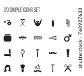 set of 20 editable tonsorial...