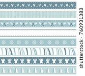set of christmas ribbons in... | Shutterstock .eps vector #760931383