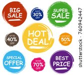 colorful sale tags in grunge... | Shutterstock . vector #760942447