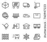 thin line icon set   box ... | Shutterstock .eps vector #760947223