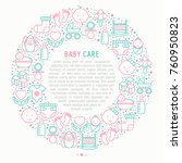 baby care concept in circle... | Shutterstock .eps vector #760950823