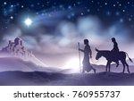 a nativity christmas... | Shutterstock . vector #760955737