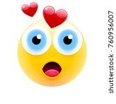 cute surprised emoji in love...   Shutterstock .eps vector #760956007