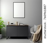 mockup poster in the interior ... | Shutterstock . vector #760961887