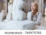 portrait of woman visitor near... | Shutterstock . vector #760975783