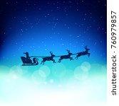 santa starts giving christmas... | Shutterstock .eps vector #760979857