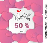 paper art valentines day sale... | Shutterstock .eps vector #760986253