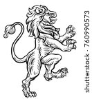 a lion rampant standing on its... | Shutterstock .eps vector #760990573