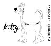 vector kitty. hand drawn sketch.... | Shutterstock .eps vector #761000533