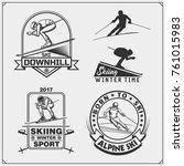set of winter sports emblems ... | Shutterstock .eps vector #761015983