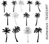 palm tree silhouette icons on... | Shutterstock . vector #761021497