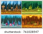 cartoon game cave landscapes... | Shutterstock .eps vector #761028547