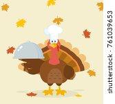 turkey chef cartoon mascot... | Shutterstock .eps vector #761039653