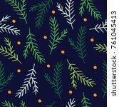 christmas pattern fith fir... | Shutterstock .eps vector #761045413