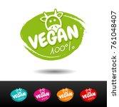 set of 100  vegan badges.... | Shutterstock .eps vector #761048407
