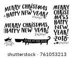 set of christmas typographic... | Shutterstock .eps vector #761053213