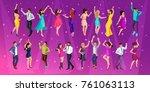 quality isometrics  a 3d girl... | Shutterstock .eps vector #761063113