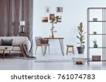 stylish bright living room with ... | Shutterstock . vector #761074783