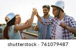 group of happy friends having... | Shutterstock . vector #761079487