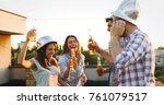 group of happy friends having... | Shutterstock . vector #761079517